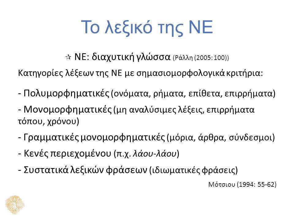 Το λεξικό της ΝΕ 2 μεγάλες κατηγορίες λέξεων της ΝΕ με κριτήρια προέλευσης: ΛαϊκέςΛόγιες αριθμητικά περισσότερες, παλαιές και νέες κρατούν γενικά τη φωνητική / φωνολογική δομή της αρχαίας ελληνικής Πετρούνιας (1993: 59-61)