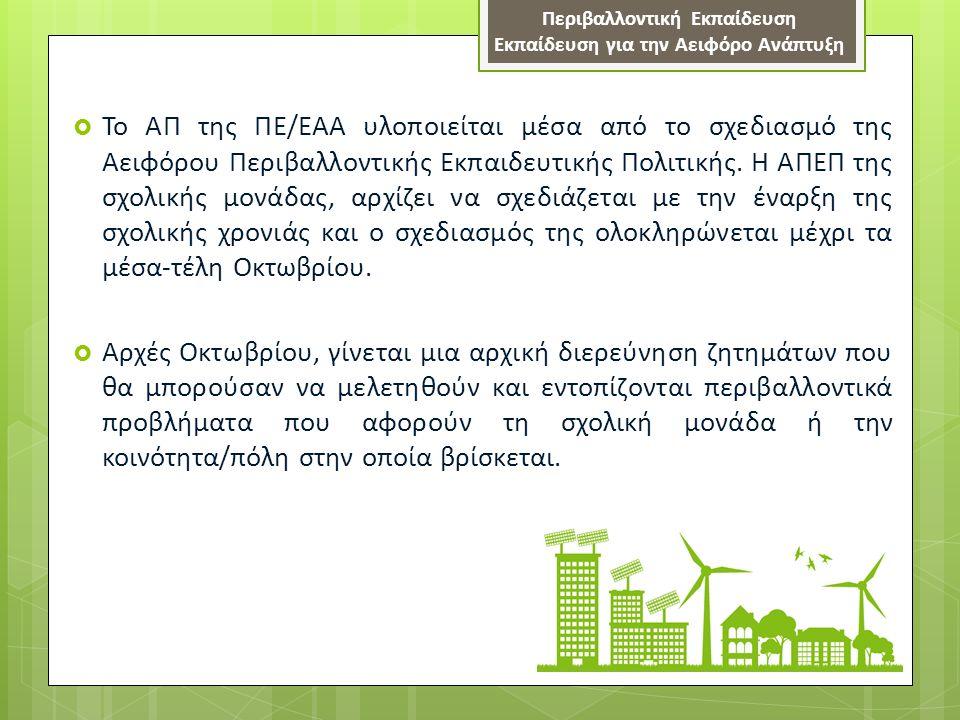 Εργαλεία και Μέσα για την εφαρμογή του ΑΠ της ΠΕ/ΕΑΑ  Αξιοποίηση όλων των παρεχόμενων υλικών και εργαλείων που έχουν παραχθεί για την εφαρμογή του Αναλυτικού Προγράμματος της ΠΕ/ΕΑΑ (http://www.schools.ac.cy/klimakio/Themata/pe rivallontiki_ekpaidefsi/index.html, http://www.moec.gov.cy/dkpe/index.html)http://www.schools.ac.cy/klimakio/Themata/pe rivallontiki_ekpaidefsi/index.html http://www.moec.gov.cy/dkpe/index.html α) οδηγός εφαρμογής προγράμματος σπουδών ΠΕ/ΕΑΑ β) «Ιδέες και προτάσεις για καθορισμό και διερεύνηση ζητημάτων της Αειφόρου Περιβαλλοντικής Εκπαιδευτικής Πολιτικής της Σχολικής Μονάδας», γ) «Ιδέες και παραδείγματα για παρεμβάσεις και αλλαγές στη σχολική μονάδα με βάση την Εκπαίδευση για την Αειφόρο Ανάπτυξη» δ) Όλο το εκπαιδευτικό υλικό που έχει παραχθεί μέχρι τώρα για τις διάφορες θεματικές ενότητες του ΑΠ της ΠΕ/ΕΑΑ, αλλά και άλλο συναφές υλικό με ιδέες, παραδείγματα και θεωρητικούς σχεδιασμούς ε) Αξιοποίηση των παραρτημάτων (Β1 και Β2) που ετοιμάσθηκαν κατά την περσινή χρονιά για τον υπό έμφαση στόχο της αειφόρου ανάπτυξηςΒ1Β2 Περιβαλλοντική Εκπαίδευση- Εκπαίδευση για την Αειφόρο Ανάπτυξη