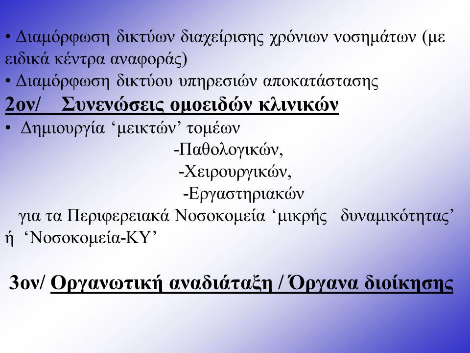 Διαμόρφωση δικτύων διαχείρισης χρόνιων νοσημάτων (με ειδικά κέντρα αναφοράς) Διαμόρφωση δικτύου υπηρεσιών αποκατάστασης 2ον/ Συνενώσεις ομοειδών κλινικών Δημιουργία 'μεικτών' τομέων -Παθολογικών, -Χειρουργικών, -Εργαστηριακών για τα Περιφερειακά Νοσοκομεία 'μικρής δυναμικότητας' ή 'Νοσοκομεία-ΚΥ' 3ον/ Οργανωτική αναδιάταξη / Όργανα διοίκησης