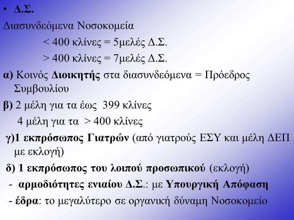 Δ.Σ.Διασυνδεόμενα Νοσοκομεία < 400 κλίνες = 5μελές Δ.Σ.