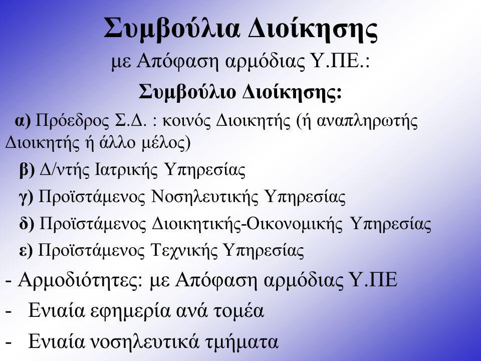 Συμβούλια Διοίκησης με Απόφαση αρμόδιας Υ.ΠΕ.: Συμβούλιο Διοίκησης: α) Πρόεδρος Σ.Δ.