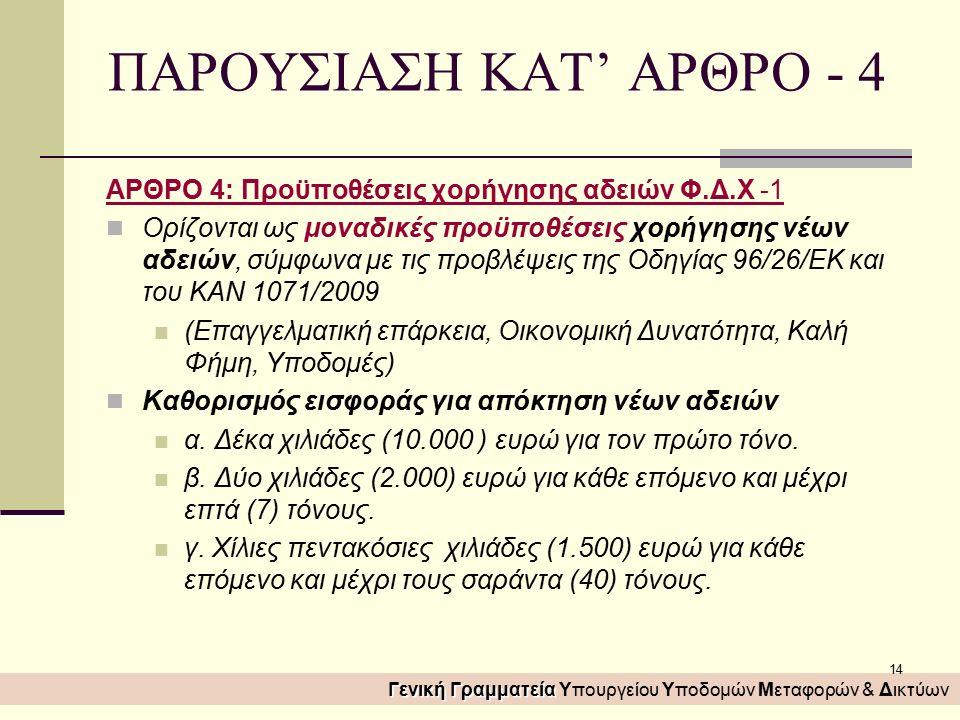 14 ΠΑΡΟΥΣΙΑΣΗ ΚΑΤ' ΑΡΘΡΟ - 4 ΑΡΘΡΟ 4: Προϋποθέσεις χορήγησης αδειών Φ.Δ.Χ -1 Ορίζονται ως μοναδικές προϋποθέσεις χορήγησης νέων αδειών, σύμφωνα με τις προβλέψεις της Οδηγίας 96/26/ΕΚ και του ΚΑΝ 1071/2009 (Επαγγελματική επάρκεια, Οικονομική Δυνατότητα, Καλή Φήμη, Υποδομές) Καθορισμός εισφοράς για απόκτηση νέων αδειών α.