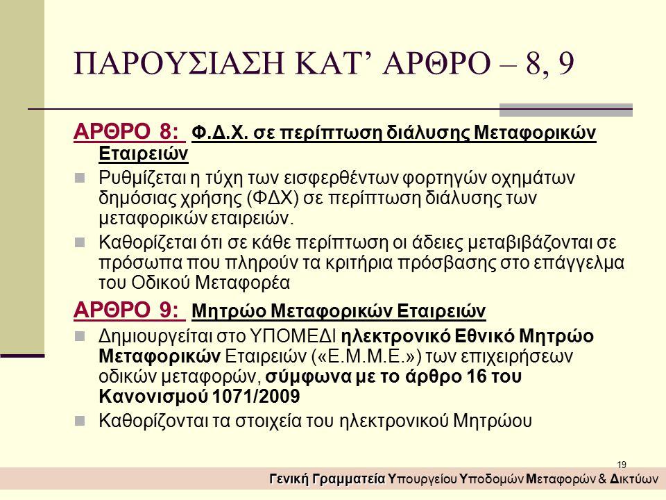 19 ΠΑΡΟΥΣΙΑΣΗ ΚΑΤ' ΑΡΘΡΟ – 8, 9 ΑΡΘΡΟ 8: Φ.Δ.Χ.