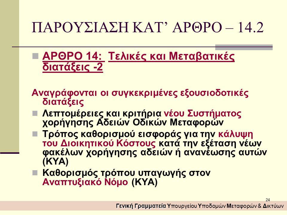 24 ΠΑΡΟΥΣΙΑΣΗ ΚΑΤ' ΑΡΘΡΟ – 14.2 ΑΡΘΡΟ 14: Τελικές και Μεταβατικές διατάξεις -2 Αναγράφονται οι συγκεκριμένες εξουσιοδοτικές διατάξεις Λεπτομέρειες και κριτήρια νέου Συστήματος χορήγησης Αδειών Οδικών Μεταφορών Τρόπος καθορισμού εισφοράς για την κάλυψη του Διοικητικού Κόστους κατά την εξέταση νέων φακέλων χορήγησης αδειών ή ανανέωσης αυτών (ΚΥΑ) Καθορισμός τρόπου υπαγωγής στον Αναπτυξιακό Νόμο (ΚΥΑ) Γενική Γραμματεία Γενική Γραμματεία Υπουργείου Υποδομών Μεταφορών & Δικτύων