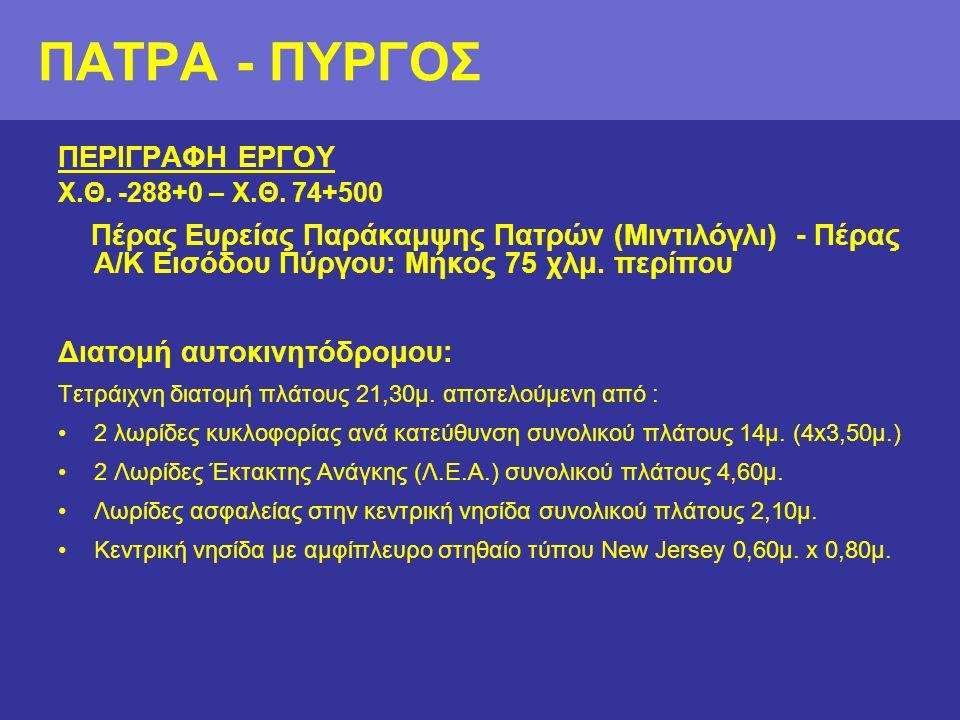 ΠΕΡΙΓΡΑΦΗ ΕΡΓΟΥ Χ.Θ. -288+0 – Χ.Θ.