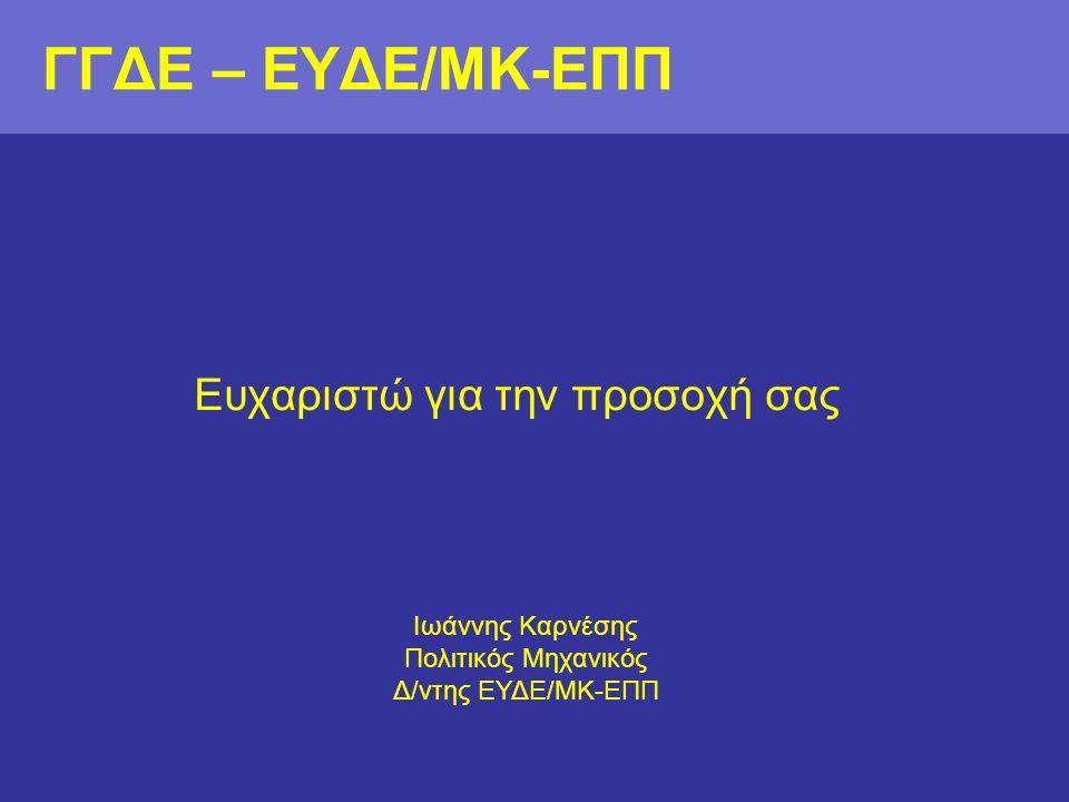 ΓΓΔΕ – ΕΥΔΕ/ΜΚ-ΕΠΠ Ευχαριστώ για την προσοχή σας Ιωάννης Καρνέσης Πολιτικός Μηχανικός Δ/ντης ΕΥΔΕ/ΜΚ-ΕΠΠ