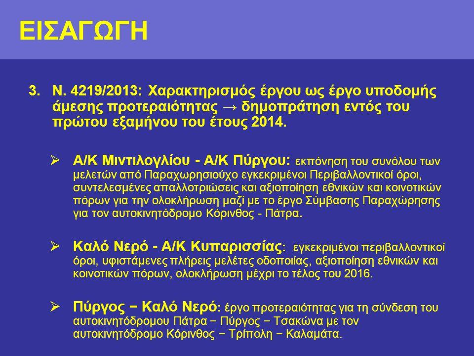 3.Ν. 4219/2013: Χαρακτηρισμός έργου ως έργο υποδομής άμεσης προτεραιότητας → δημοπράτηση εντός του πρώτου εξαμήνου του έτους 2014.  Α/Κ Μιντιλογλίου