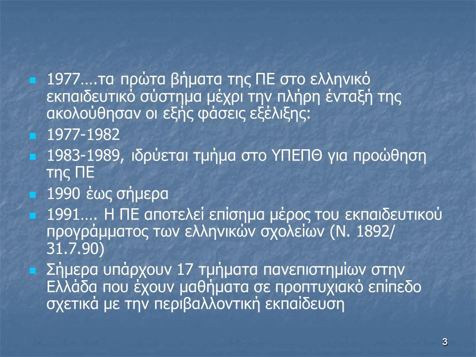 3 1977….τα πρώτα βήματα της ΠΕ στο ελληνικό εκπαιδευτικό σύστημα μέχρι την πλήρη ένταξή της ακολούθησαν οι εξής φάσεις εξέλιξης: 1977-1982 1983-1989, ιδρύεται τμήμα στο ΥΠΕΠΘ για προώθηση της ΠΕ 1990 έως σήμερα 1991….
