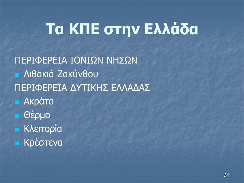 31 Τα ΚΠΕ στην Ελλάδα ΠΕΡΙΦΕΡΕΙΑ ΙΟΝΙΩΝ ΝΗΣΩΝ Λιθακιά Ζακύνθου ΠΕΡΙΦΕΡΕΙΑ ΔΥΤΙΚΗΣ ΕΛΛΑΔΑΣ Ακράτα Θέρμο Κλειτορία Κρέστενα