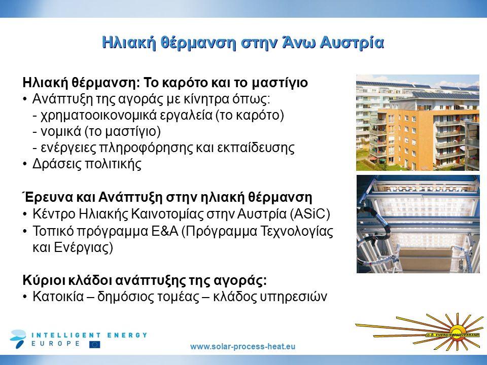 www.solar-process-heat.eu Ηλιακή θέρμανση στην Άνω Αυστρία Ηλιακή θέρμανση: Το καρότο και το μαστίγιο Ανάπτυξη της αγοράς με κίνητρα όπως: - χρηματοοικονομικά εργαλεία (το καρότο) - νομικά (το μαστίγιο) - ενέργειες πληροφόρησης και εκπαίδευσης Δράσεις πολιτικής Έρευνα και Ανάπτυξη στην ηλιακή θέρμανση Κέντρο Ηλιακής Καινοτομίας στην Αυστρία (ASiC) Τοπικό πρόγραμμα Ε&Α (Πρόγραμμα Τεχνολογίας και Ενέργιας) Κύριοι κλάδοι ανάπτυξης της αγοράς: Κατοικία – δημόσιος τομέας – κλάδος υπηρεσιών