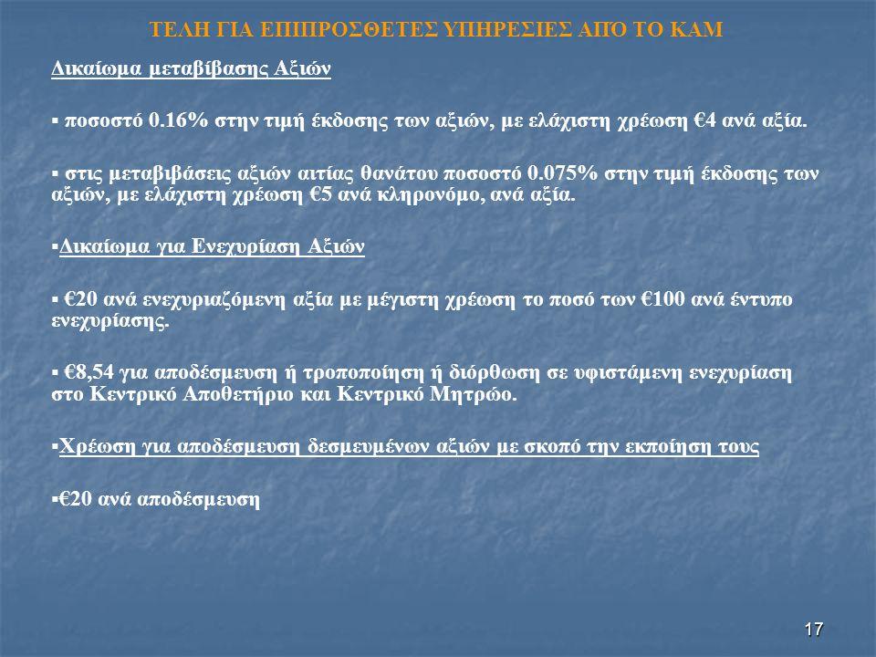 17 ΤΕΛΗ ΓΙΑ ΕΠΙΠΡΟΣΘΕΤΕΣ ΥΠΗΡΕΣΙΕΣ ΑΠΌ ΤΟ ΚΑΜ Δικαίωμα μεταβίβασης Αξιών   ποσοστό 0.16% στην τιμή έκδοσης των αξιών, με ελάχιστη χρέωση €4 ανά αξία.