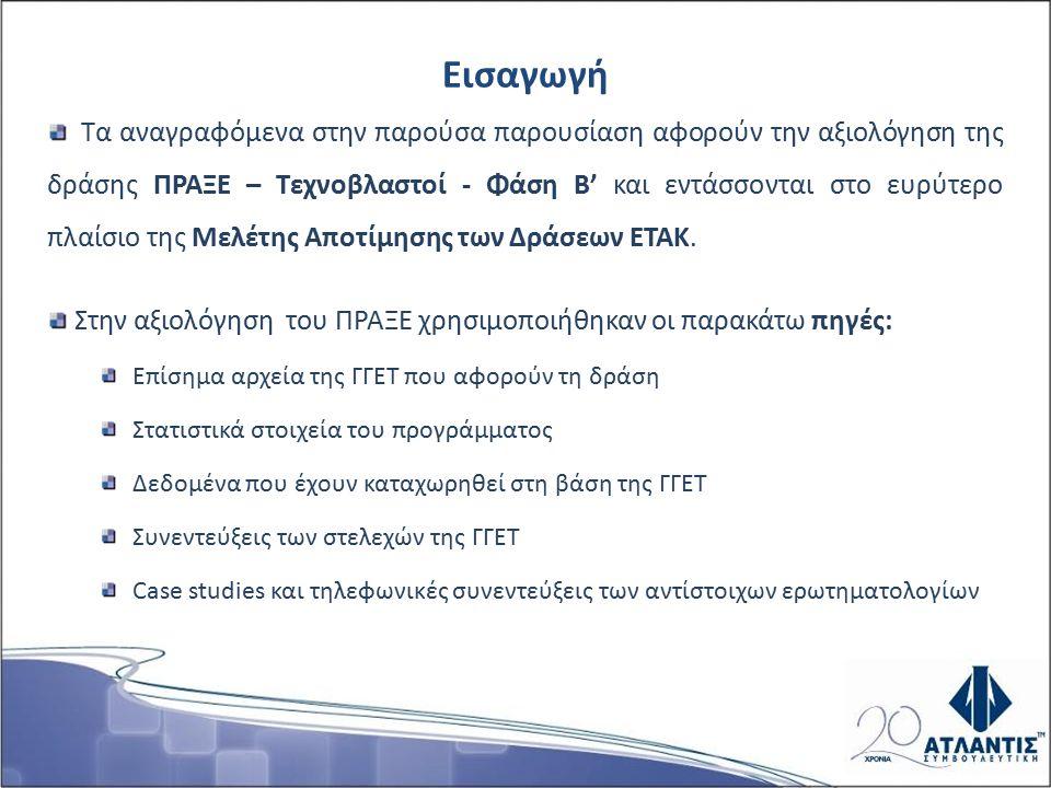 Τα αναγραφόμενα στην παρούσα παρουσίαση αφορούν την αξιολόγηση της δράσης ΠΡΑΞΕ – Τεχνοβλαστοί - Φάση Β' και εντάσσονται στο ευρύτερο πλαίσιο της Μελέτης Αποτίμησης των Δράσεων ΕΤΑΚ.