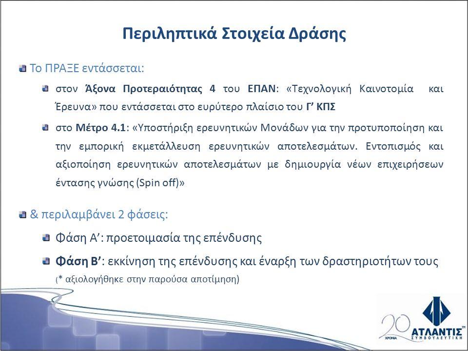 Στόχος: ενίσχυση του ελληνικού συστήματος καινοτομίας εκμετάλλευση της γνώσης και των ερευνητικών αποτελεσμάτων δημιουργία νέων επιχειρήσεων που αποκαλούνται Τεχνοβλαστοί (spin-off).