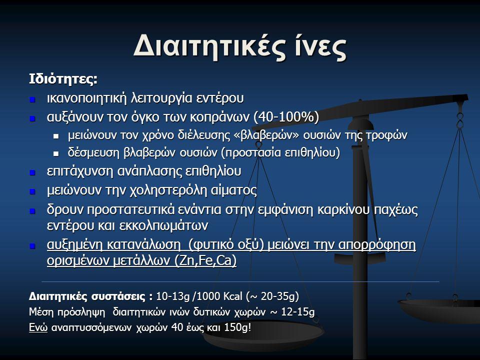 Διαιτητικές ίνες Ιδιότητες: ικανοποιητική λειτουργία εντέρου ικανοποιητική λειτουργία εντέρου αυξάνουν τον όγκο των κοπράνων (40-100%) αυξάνουν τον όγκο των κοπράνων (40-100%) μειώνουν τον χρόνο διέλευσης «βλαβερών» ουσιών της τροφών μειώνουν τον χρόνο διέλευσης «βλαβερών» ουσιών της τροφών δέσμευση βλαβερών ουσιών (προστασία επιθηλίου) δέσμευση βλαβερών ουσιών (προστασία επιθηλίου) επιτάχυνση ανάπλασης επιθηλίου επιτάχυνση ανάπλασης επιθηλίου μειώνουν την χοληστερόλη αίματος μειώνουν την χοληστερόλη αίματος δρουν προστατευτικά ενάντια στην εμφάνιση καρκίνου παχέως εντέρου και εκκολπωμάτων δρουν προστατευτικά ενάντια στην εμφάνιση καρκίνου παχέως εντέρου και εκκολπωμάτων αυξημένη κατανάλωση (φυτικό οξύ) μειώνει την απορρόφηση ορισμένων μετάλλων (Zn,Fe,Ca) αυξημένη κατανάλωση (φυτικό οξύ) μειώνει την απορρόφηση ορισμένων μετάλλων (Zn,Fe,Ca) Διαιτητικές συστάσεις : 10-13g /1000 Kcal (~ 20-35g) Μέση πρόσληψη διαιτητικών ινών δυτικών χωρών ~ 12-15g Ενώ αναπτυσσόμενων χωρών 40 έως και 150g!