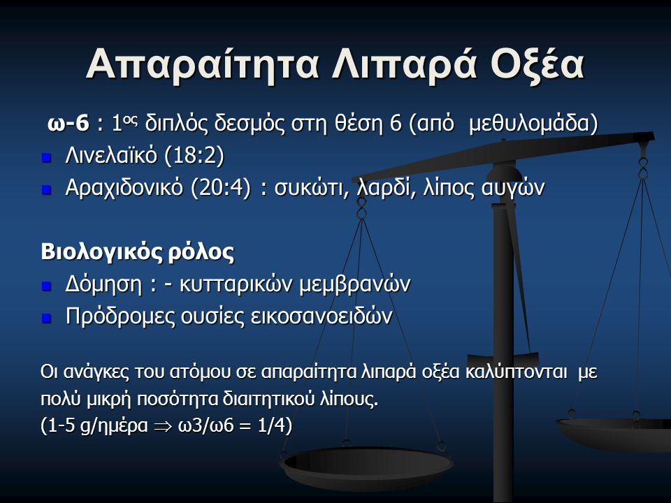 Απαραίτητα Λιπαρά Οξέα ω-6 : 1 ος διπλός δεσμός στη θέση 6 (από μεθυλομάδα) ω-6 : 1 ος διπλός δεσμός στη θέση 6 (από μεθυλομάδα) Λινελαϊκό (18:2) Λινελαϊκό (18:2) Αραχιδονικό (20:4) : συκώτι, λαρδί, λίπος αυγών Αραχιδονικό (20:4) : συκώτι, λαρδί, λίπος αυγών Βιολογικός ρόλος Δόμηση : - κυτταρικών μεμβρανών Δόμηση : - κυτταρικών μεμβρανών Πρόδρομες ουσίες εικοσανοειδών Πρόδρομες ουσίες εικοσανοειδών Οι ανάγκες του ατόμου σε απαραίτητα λιπαρά οξέα καλύπτονται με πολύ μικρή ποσότητα διαιτητικού λίπους.