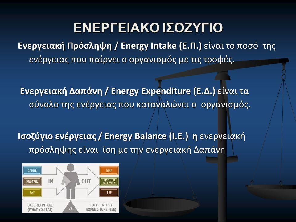 ΕΝΕΡΓΕΙΑΚΟ ΙΣΟΖΥΓΙΟ Ενεργειακή Πρόσληψη / Energy Intake (Ε.Π.) είναι το ποσό της ενέργειας που παίρνει ο οργανισμός με τις τροφές. Ενεργειακή Δαπάνη /