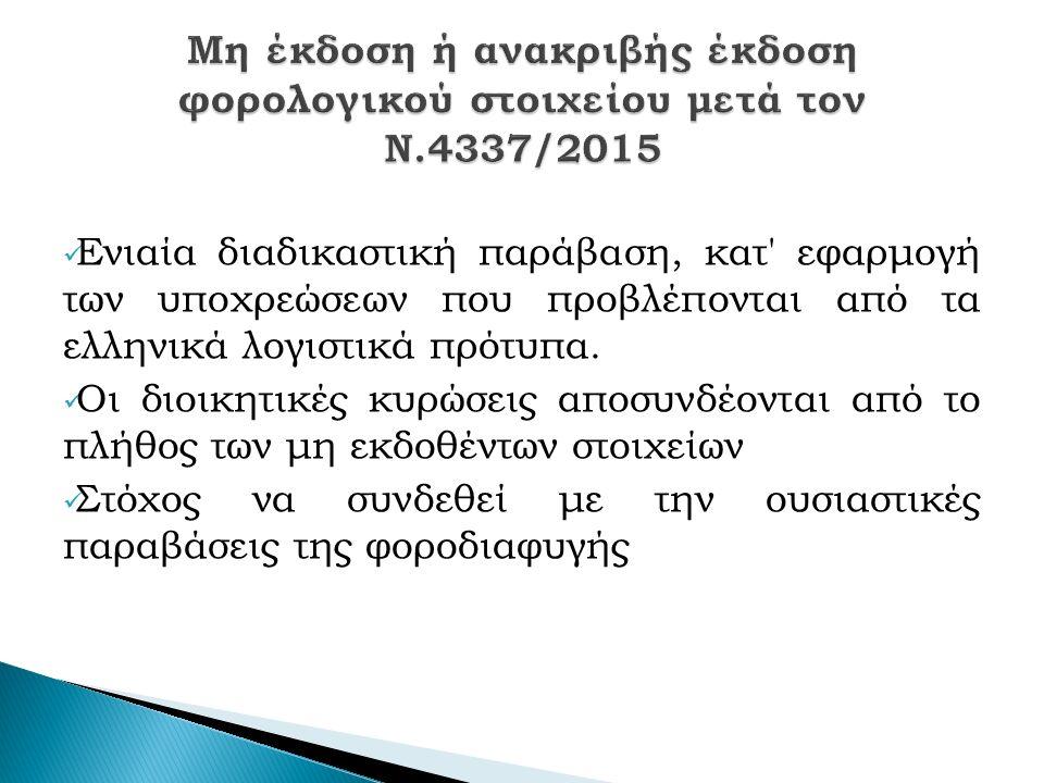 Ενιαία διαδικαστική παράβαση, κατ εφαρμογή των υποχρεώσεων που προβλέπονται από τα ελληνικά λογιστικά πρότυπα.