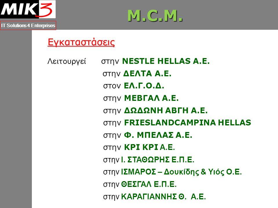 M.C.M.IT Solutions 4 Enterprises Επιστημονική Έρευνα 2006 –Π.A.Β.E.T.