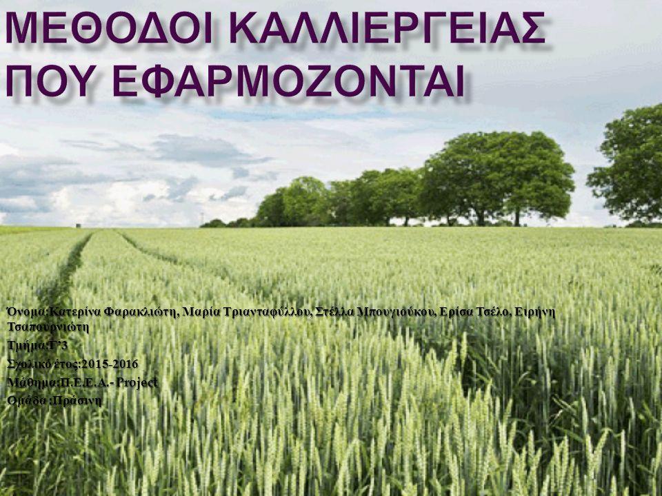 Στην Ελλάδα οι κυριότεροι μέθοδοι καλλιέργειας που εφαρμόζονται είναι οι βιολογικές, συμβατικές και φυσικές.