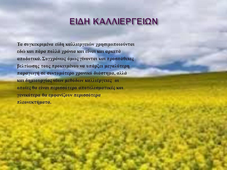 Τα συγκεκριμένα είδη καλλιεργειών χρησιμοποιούνται εδώ και πάρα πολλά χρόνια και είναι και αρκετά αποδοτικά. Συγχρόνως όμως γίνονται και προσπάθειες β