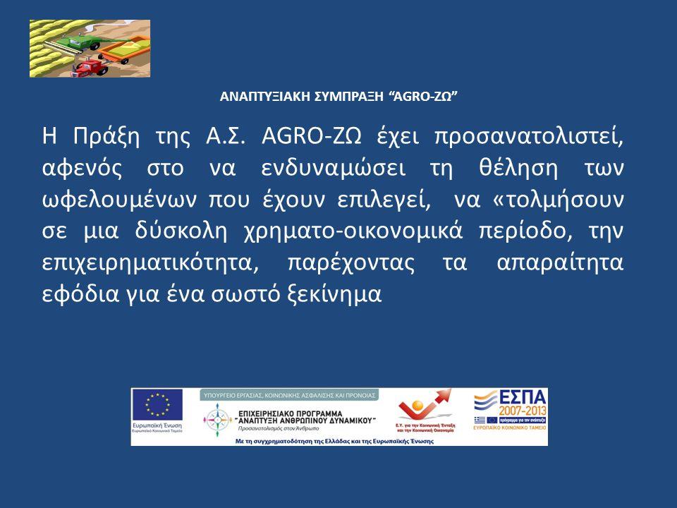 ΑΝΑΠΤΥΞΙΑΚΗ ΣΥΜΠΡΑΞΗ AGRO-ΖΩ 8.Ενέργειες συμβουλευτικής για την άσκηση επιχειρηματικότητας 9.
