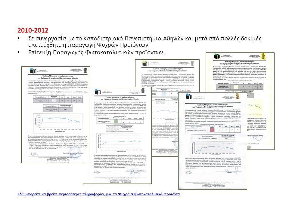 2010-2012 Σε συνεργασία με το Καποδιστριακό Πανεπιστήμιο Αθηνών και μετά από πολλές δοκιμές επετεύχθητε η παραγωγή Ψυχρών Προϊόντων Επίτευξη Παραγωγής Φωτοκαταλυτικών προϊόντων.
