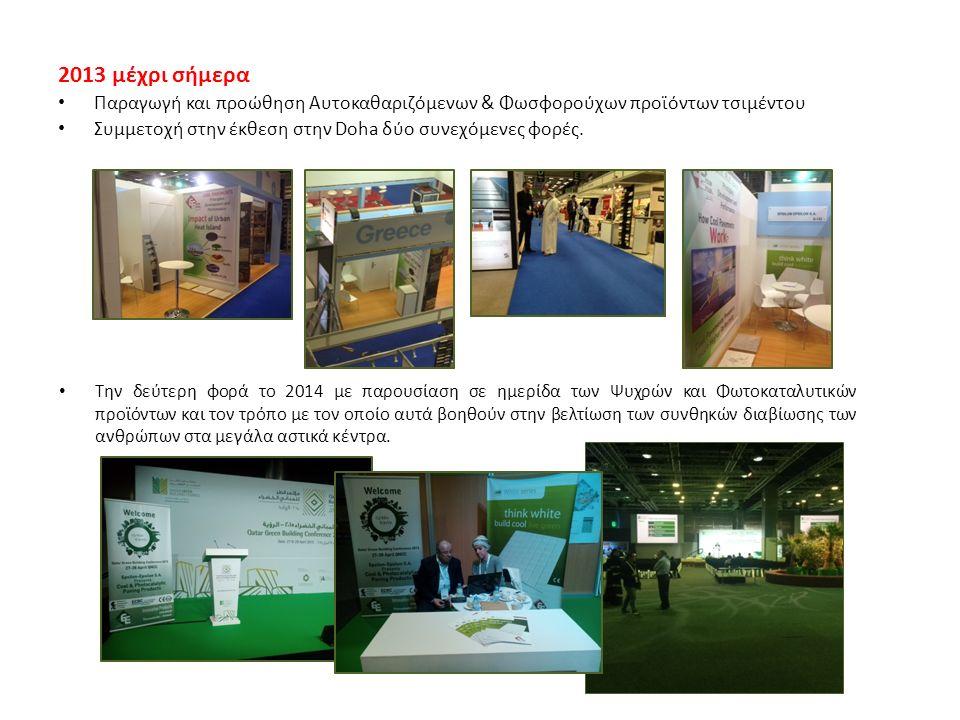 2013 μέχρι σήμερα Παραγωγή και προώθηση Αυτοκαθαριζόμενων & Φωσφορούχων προϊόντων τσιμέντου Συμμετοχή στην έκθεση στην Doha δύο συνεχόμενες φορές.
