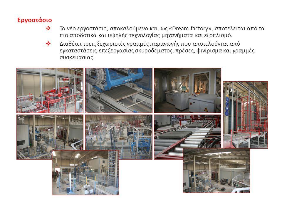 Εργοστάσιο  Το νέο εργοστάσιο, αποκαλούμενο και ως «Dream factory», αποτελείται από τα πιο αποδοτικά και υψηλής τεχνολογίας μηχανήματα και εξοπλισμό.