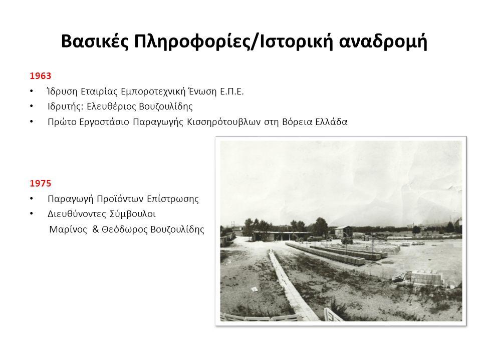 Σημεία σταθμός στην πορεία της Επιχείρησης 1976-1992 Καθώς η εταιρία αναπτύσσεται με νέες Βιομηχανικές Εγκαταστάσεις και εμπλουτισμό προϊόντων, οι συνεχιζόμενες συμμετοχές σε εκθέσεις στην Ελλάδα αλλά και στα Βαλκάνια οδηγούν στο να γίνει η ΕΜΠΟΡΟΤΕΧΝΙΚΗ ΕΝΩΣΗ Ε.Π.Ε.