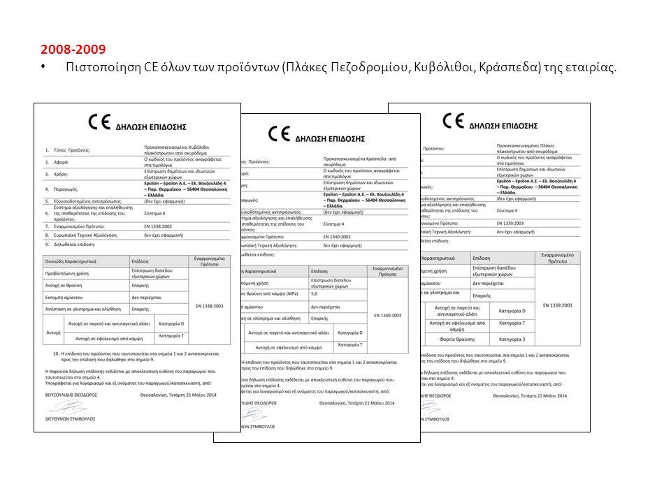 2008-2009 Πιστοποίηση CE όλων των προϊόντων (Πλάκες Πεζοδρομίου, Κυβόλιθοι, Κράσπεδα) της εταιρίας.