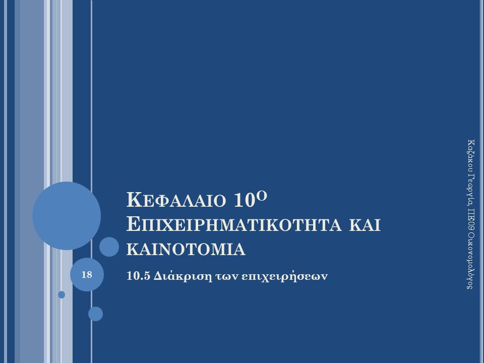 Κ ΕΦΑΛΑΙΟ 10 Ο Ε ΠΙΧΕΙΡΗΜΑΤΙΚΟΤΗΤΑ ΚΑΙ ΚΑΙΝΟΤΟΜΙΑ 10.5 Διάκριση των επιχειρήσεων Καζάκου Γεωργία, ΠΕ09 Οικονομολόγος 18