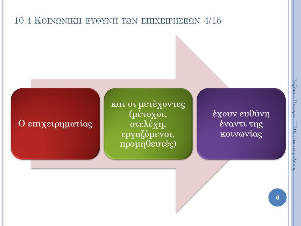 10.4 Κ ΟΙΝΩΝΙΚΗ ΕΥΘΥΝΗ ΤΩΝ ΕΠΙΧΕΙΡΗΣΕΩΝ 4/15 Ο επιχειρηματίας και οι μετέχοντες (μέτοχοι, στελέχη, εργαζόμενοι, προμηθευτές) έχουν ευθύνη έναντι της κοινωνίας Καζάκου Γεωργία, ΠΕ09 Οικονομολόγος 6
