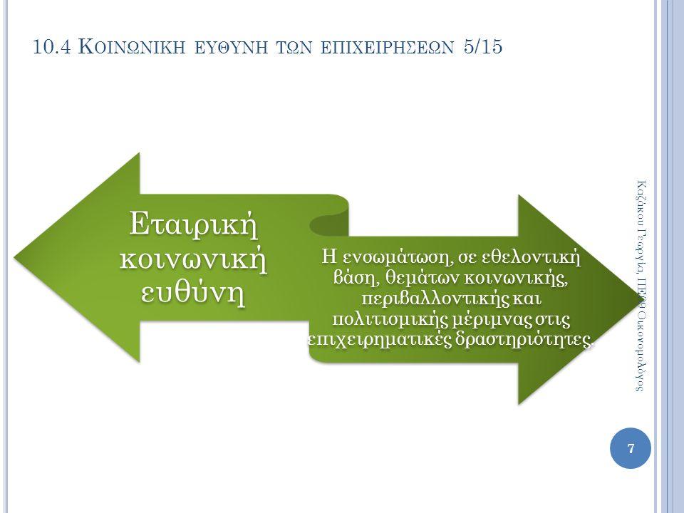 10.4 Κ ΟΙΝΩΝΙΚΗ ΕΥΘΥΝΗ ΤΩΝ ΕΠΙΧΕΙΡΗΣΕΩΝ 5/15 Εταιρική κοινωνική ευθύνη Η ενσωμάτωση, σε εθελοντική βάση, θεμάτων κοινωνικής, περιβαλλοντικής και πολιτισμικής μέριμνας στις επιχειρηματικές δραστηριότητες.