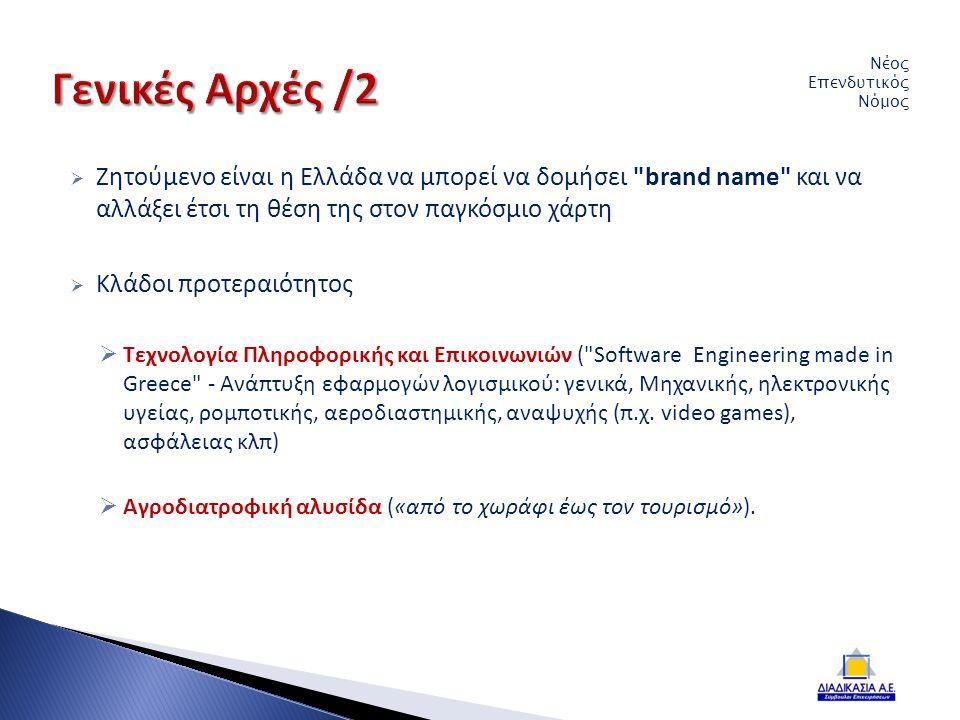  Ζητούμενο είναι η Ελλάδα να μπορεί να δομήσει brand name και να αλλάξει έτσι τη θέση της στον παγκόσμιο χάρτη  Κλάδοι προτεραιότητος  Τεχνολογία Πληροφορικής και Επικοινωνιών ( Software Engineering made in Greece - Ανάπτυξη εφαρμογών λογισμικού: γενικά, Μηχανικής, ηλεκτρονικής υγείας, ρομποτικής, αεροδιαστημικής, αναψυχής (π.χ.