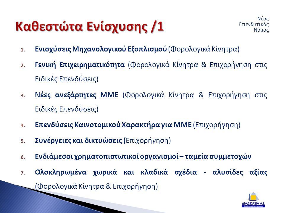 1. Ενισχύσεις Μηχανολογικού Εξοπλισμού (Φορολογικά Κίνητρα) 2.