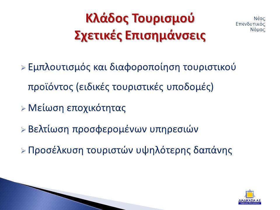  Εμπλουτισμός και διαφοροποίηση τουριστικού προϊόντος (ειδικές τουριστικές υποδομές)  Μείωση εποχικότητας  Βελτίωση προσφερομένων υπηρεσιών  Προσέλκυση τουριστών υψηλότερης δαπάνης Νέος Επενδυτικός Νόμος