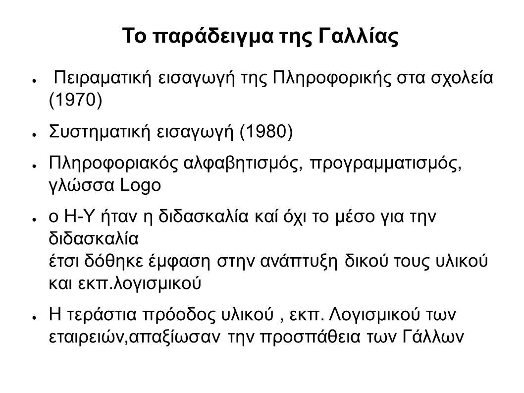 Το παράδειγμα της Γαλλίας ● Πειραματική εισαγωγή της Πληροφορικής στα σχολεία (1970) ● Συστηματική εισαγωγή (1980) ● Πληροφοριακός αλφαβητισμός, προγραμματισμός, γλώσσα Logo ● ο Η-Υ ήταν η διδασκαλία καί όχι το μέσο για την διδασκαλία έτσι δόθηκε έμφαση στην ανάπτυξη δικού τους υλικού και εκπ.λογισμικού ● Η τεράστια πρόοδος υλικού, εκπ.