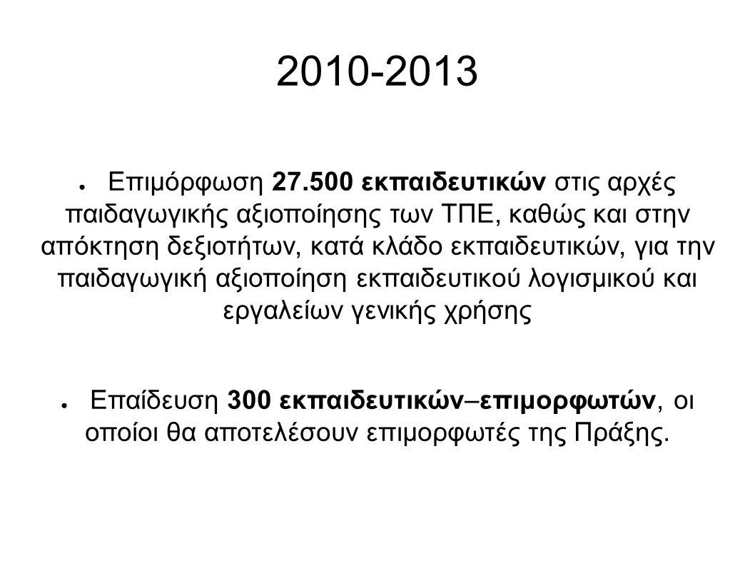 2010-2013 ● Επιμόρφωση 27.500 εκπαιδευτικών στις αρχές παιδαγωγικής αξιοποίησης των ΤΠΕ, καθώς και στην απόκτηση δεξιοτήτων, κατά κλάδο εκπαιδευτικών, για την παιδαγωγική αξιοποίηση εκπαιδευτικού λογισμικού και εργαλείων γενικής χρήσης ● Επαίδευση 300 εκπαιδευτικών–επιμορφωτών, οι οποίοι θα αποτελέσουν επιμορφωτές της Πράξης.