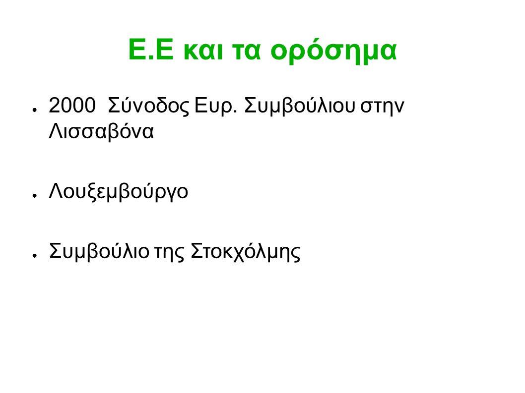 Ε.Ε και τα ορόσημα ● 2000 Σύνοδος Ευρ.