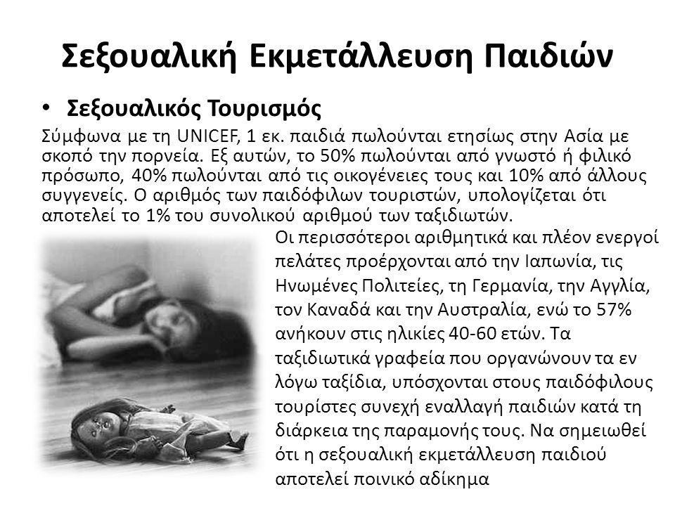 Σεξουαλική Εκμετάλλευση Παιδιών Σεξουαλικός Τουρισμός Σύμφωνα με τη UNICEF, 1 εκ.