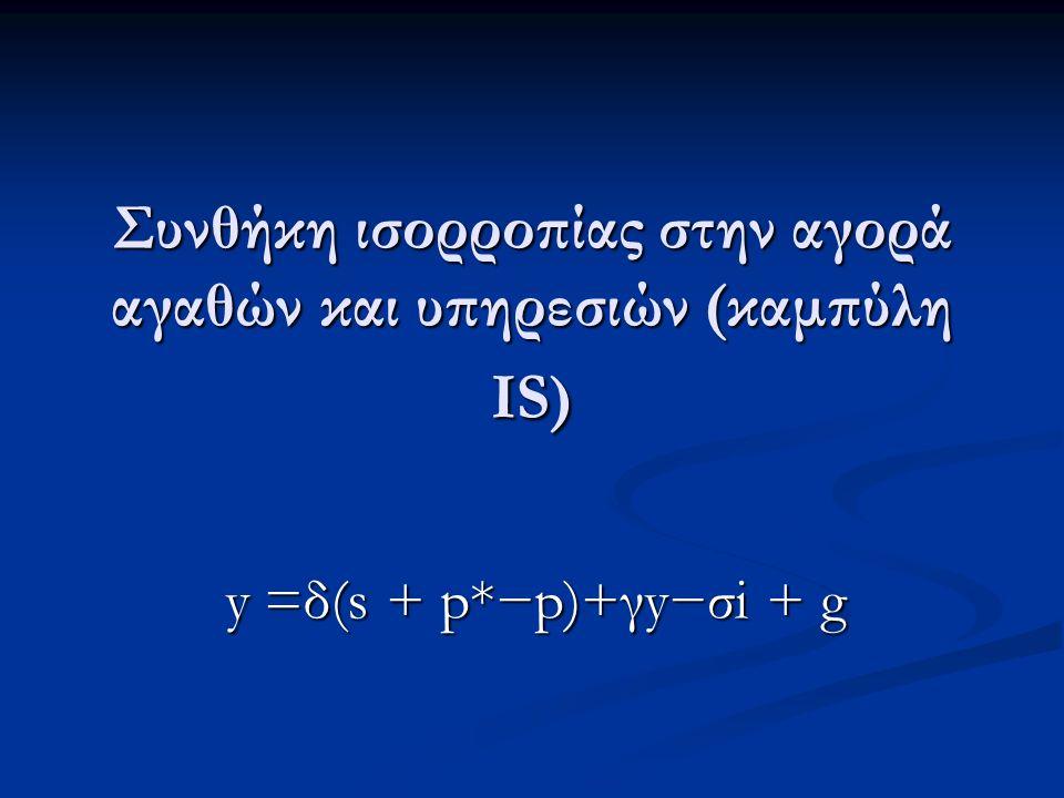 Συνθήκη ισορροπίας στην αγορά αγαθών και υπηρεσιών (καμπύλη IS) y =δ(s + p*−p)+γy−σi + g