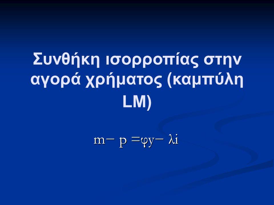 Συνθήκη ισορροπίας στην αγορά χρήματος (καμπύλη LM) m− p =φy− λi