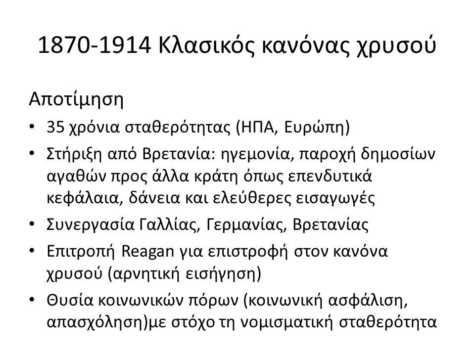 1870-1914 Κλασικός κανόνας χρυσού Αποτίμηση 35 χρόνια σταθερότητας (ΗΠΑ, Ευρώπη) Στήριξη από Βρετανία: ηγεμονία, παροχή δημοσίων αγαθών προς άλλα κράτ
