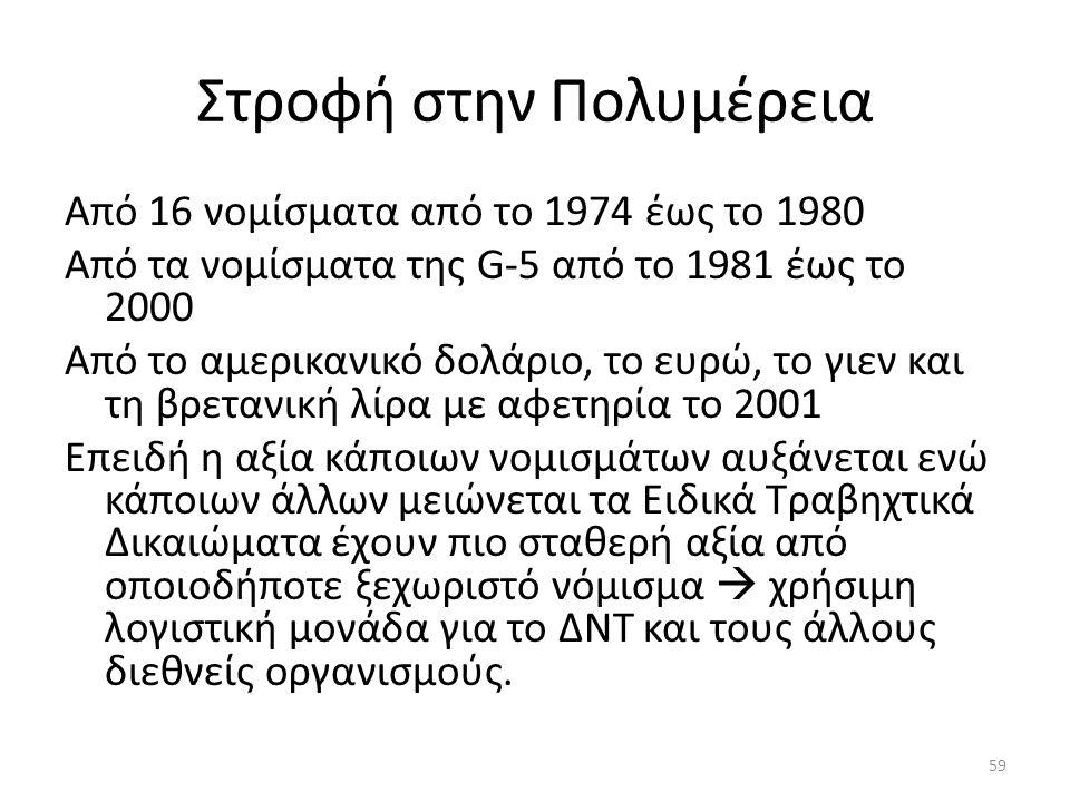 Στροφή στην Πολυμέρεια Από 16 νομίσματα από το 1974 έως το 1980 Από τα νομίσματα της G-5 από το 1981 έως το 2000 Από το αμερικανικό δολάριο, το ευρώ, το γιεν και τη βρετανική λίρα με αφετηρία το 2001 Επειδή η αξία κάποιων νομισμάτων αυξάνεται ενώ κάποιων άλλων μειώνεται τα Ειδικά Τραβηχτικά Δικαιώματα έχουν πιο σταθερή αξία από οποιοδήποτε ξεχωριστό νόμισμα  χρήσιμη λογιστική μονάδα για το ΔΝΤ και τους άλλους διεθνείς οργανισμούς.