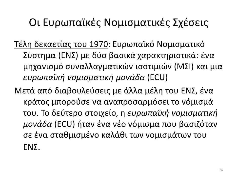 Οι Ευρωπαϊκές Νομισματικές Σχέσεις Τέλη δεκαετίας του 1970: Ευρωπαϊκό Νομισματικό Σύστημα (ΕΝΣ) με δύο βασικά χαρακτηριστικά: ένα μηχανισμό συναλλαγματικών ισοτιμιών (ΜΣΙ) και μια ευρωπαϊκή νομισματική μονάδα (ECU) Μετά από διαβουλεύσεις με άλλα μέλη του ΕΝΣ, ένα κράτος μπορούσε να αναπροσαρμόσει το νόμισμά του.