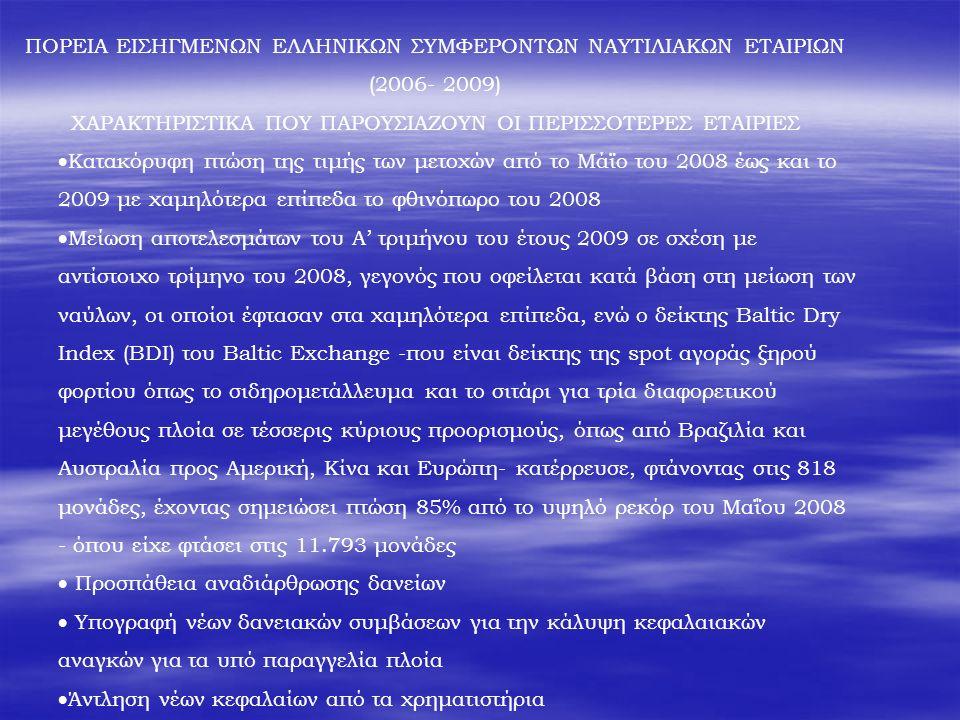 ΠΟΡΕΙΑ ΕΙΣΗΓΜΕΝΩΝ ΕΛΛΗΝΙΚΩΝ ΣΥΜΦΕΡΟΝΤΩΝ ΝΑΥΤΙΛΙΑΚΩΝ ΕΤΑΙΡΙΩΝ (2006- 2009) ΧΑΡΑΚΤΗΡΙΣΤΙΚΑ ΠΟΥ ΠΑΡΟΥΣΙΑΖΟΥΝ ΟΙ ΠΕΡΙΣΣΟΤΕΡΕΣ ΕΤΑΙΡΙΕΣ  Κατακόρυφη πτώση της τιμής των μετοχών από το Μάϊο του 2008 έως και το 2009 με χαμηλότερα επίπεδα το φθινόπωρο του 2008  Μείωση αποτελεσμάτων του Α' τριμήνου του έτους 2009 σε σχέση με αντίστοιχο τρίμηνο του 2008, γεγονός που οφείλεται κατά βάση στη μείωση των ναύλων, οι οποίοι έφτασαν στα χαμηλότερα επίπεδα, ενώ ο δείκτης Baltic Dry Index (BDI) του Baltic Exchange -που είναι δείκτης της spot αγοράς ξηρού φορτίου όπως το σιδηρομετάλλευμα και το σιτάρι για τρία διαφορετικού μεγέθους πλοία σε τέσσερις κύριους προορισμούς, όπως από Βραζιλία και Αυστραλία προς Αμερική, Κίνα και Ευρώπη- κατέρρευσε, φτάνοντας στις 818 μονάδες, έχοντας σημειώσει πτώση 85% από το υψηλό ρεκόρ του Μαΐου 2008 - όπου είχε φτάσει στις 11.793 μονάδες  Προσπάθεια αναδιάρθρωσης δανείων  Υπογραφή νέων δανειακών συμβάσεων για την κάλυψη κεφαλαιακών αναγκών για τα υπό παραγγελία πλοία  Άντληση νέων κεφαλαίων από τα χρηματιστήρια