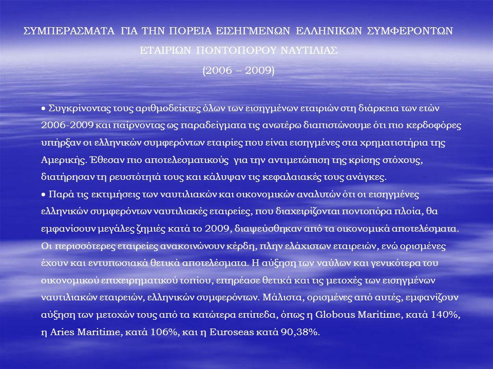 ΣΥΜΠΕΡΑΣΜΑΤΑ ΓΙΑ ΤΗΝ ΠΟΡΕΙΑ ΕΙΣΗΓΜΕΝΩΝ ΕΛΛΗΝΙΚΩΝ ΣΥΜΦΕΡΟΝΤΩΝ ΕΤΑΙΡΙΩΝ ΠΟΝΤΟΠΟΡΟΥ ΝΑΥΤΙΛΙΑΣ (2006 – 2009)  Συγκρίνοντας τους αριθμοδείκτες όλων των εισηγμένων εταιριών στη διάρκεια των ετών 2006-2009 και παίρνοντας ως παραδείγματα τις ανωτέρω διαπιστώνουμε ότι πιο κερδοφόρες υπήρξαν οι ελληνικών συμφερόντων εταιρίες που είναι εισηγμένες στα χρηματιστήρια της Αμερικής.