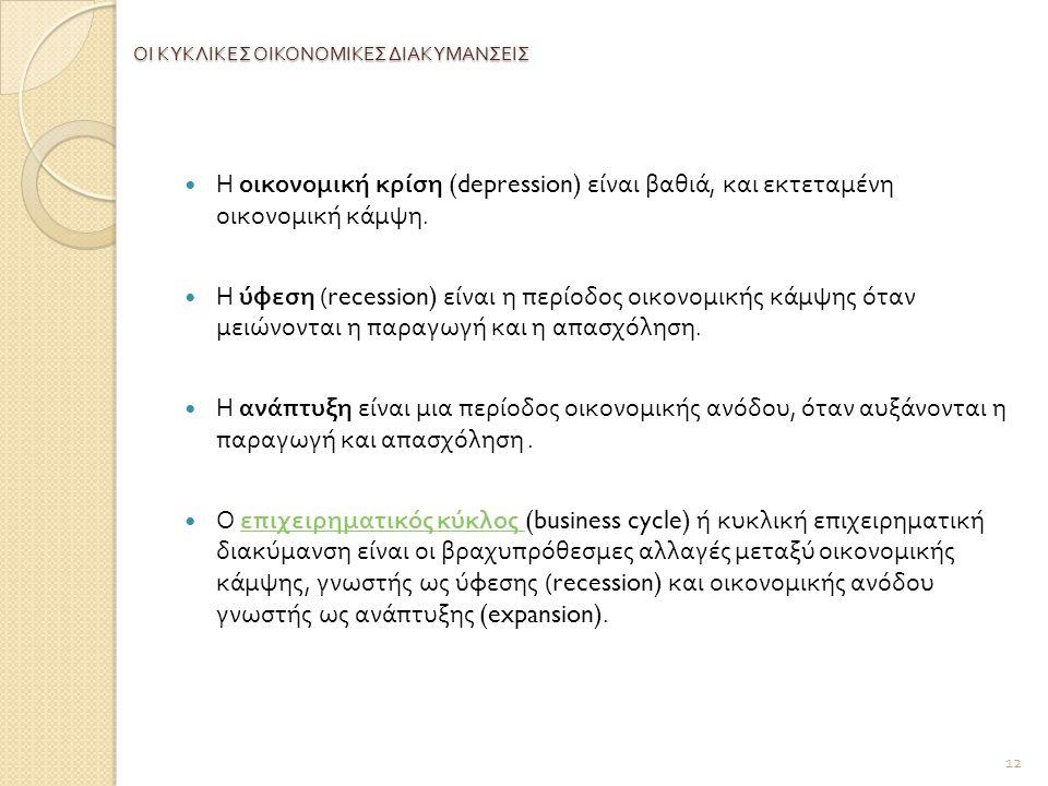 ΟΙ ΚΥΚΛΙΚΕΣ ΟΙΚΟΝΟΜΙΚΕΣ ΔΙΑΚΥΜΑΝΣΕΙΣ Η οικονομική κρίση (depression) είναι βαθιά, και εκτεταμένη οικονομική κάμψη.