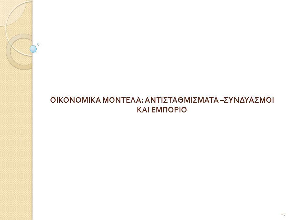 ΟΙΚΟΝΟΜΙΚΑ ΜΟΝΤΕΛΑ : ΑΝΤΙΣΤΑΘΜΙΣΜΑΤΑ – ΣΥΝΔΥΑΣΜΟΙ ΚΑΙ ΕΜΠΟΡΙΟ 23