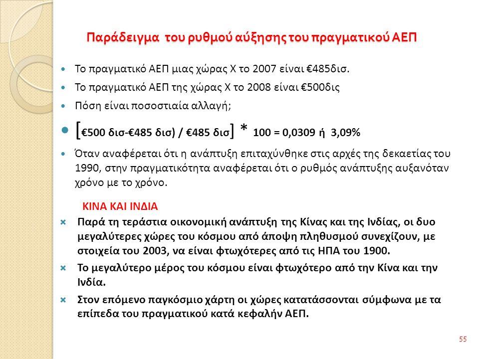Παράδειγμα του ρυθμού αύξησης του πραγματικού ΑΕΠ 55 Το πραγματικό ΑΕΠ μιας χώρας Χ το 2007 είναι €485δισ.